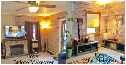 Before, Client foyer was undefined & under utilized; AFTER the foyer is defined, stylish & organized.