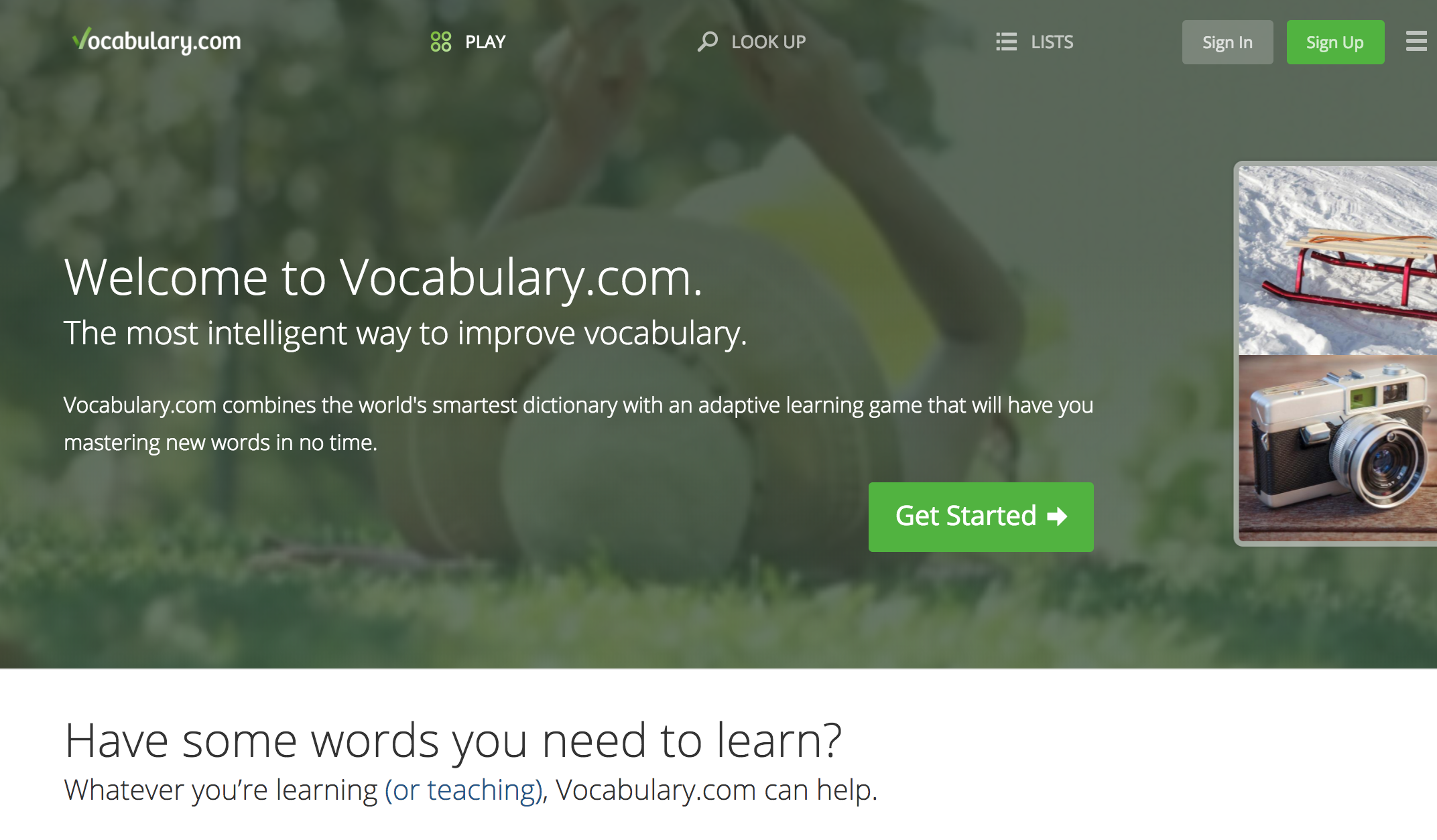 Vocabulary.com - I had been a devotee of Cram and Quizlet and overlooked Vocabulary.com as a studying tool until a coworker showed me the extensive lists that are user generated, as well as how students can level-up over time. I have much less experience with this website, but I am excited about the design and user interface.