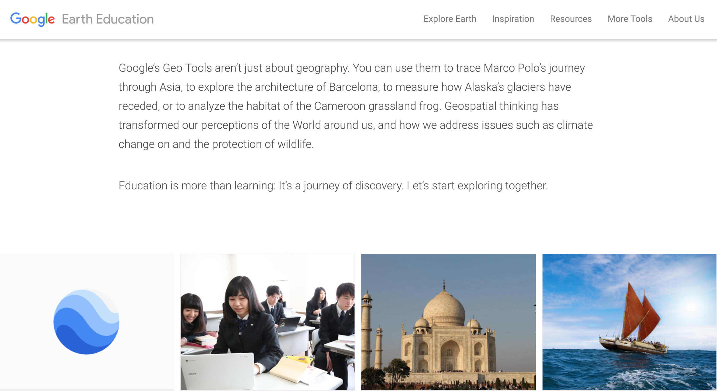 Google Earth Education - This powerful platform is a curiosity engine that inevitably creates questions and insights about the world. When students explore Google Earth, they learn so much about geography and culture. My hopes are that in the next few years, Google Earth will debut more and more content that are for teachers and by teachers. My guess is that we are about to enter a golden age of Google Earth.