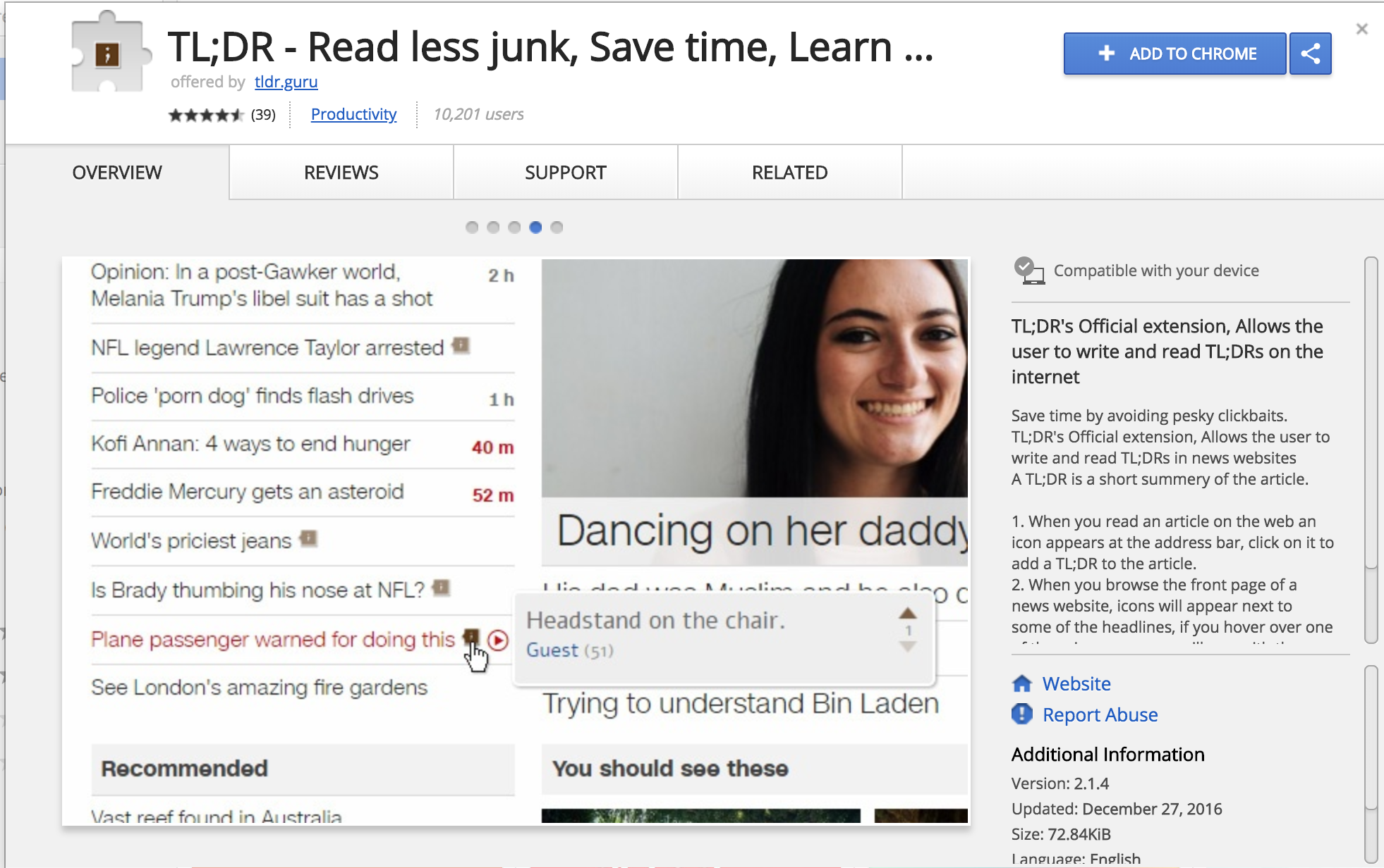 tl;dr - Sometimes, it can help students to have a summary of an article before they read it. If so, this Chrome extension is perfect for providing a quick summary for articles. The extension is named tl'dr, which is internet jargon for