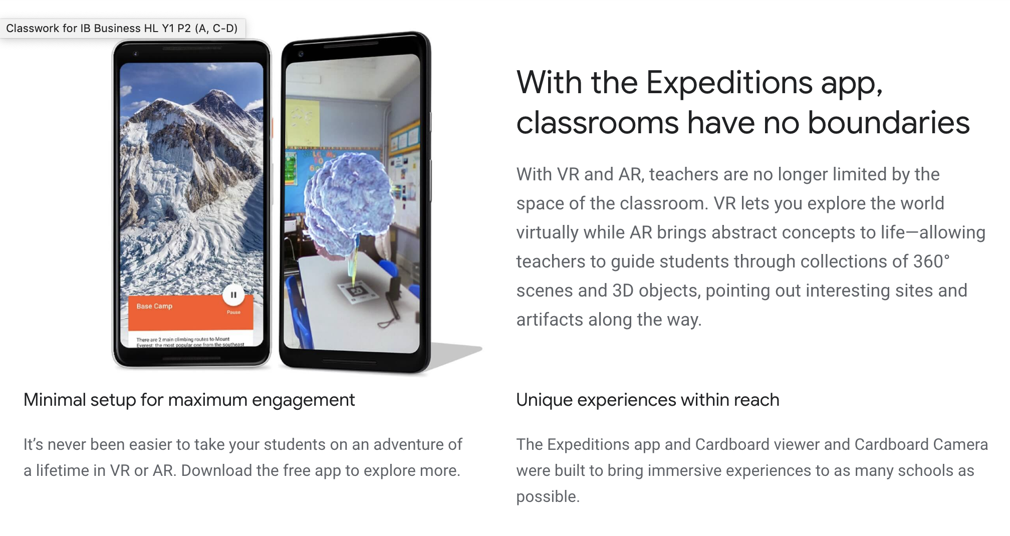 Google Expedition - This brings 360° immersive experiences and virtual reality field trips into the classroom as a learning experience that drops jaws. I am a novice in implementing a tool like this and would love to learn more what virtual reality and augmented reality could mean for a classroom.
