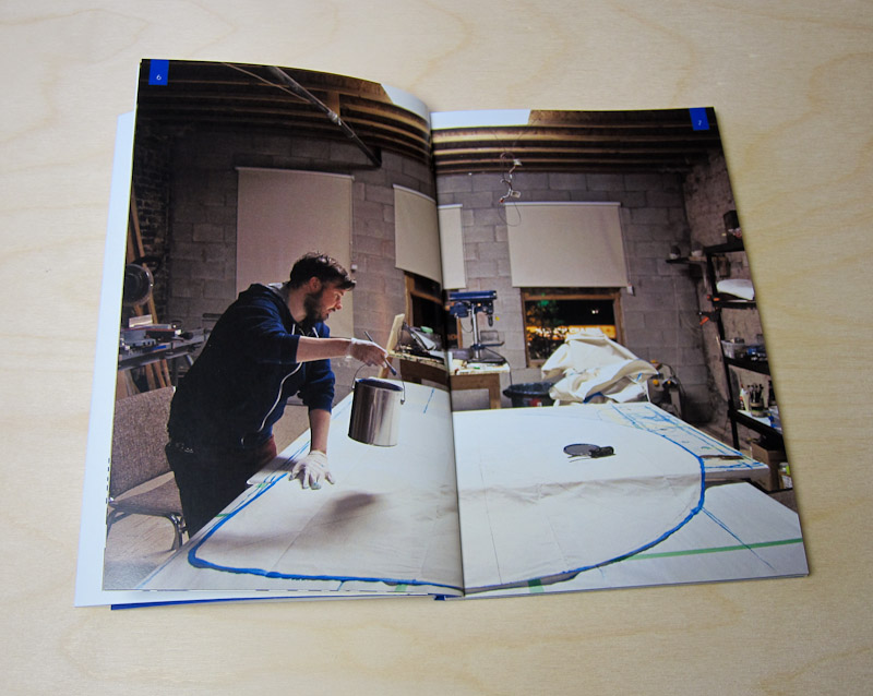 Kirkpatrick in studio - Early stages of an inflatable sculpture. Spread from Lineage Edition - Blue #1