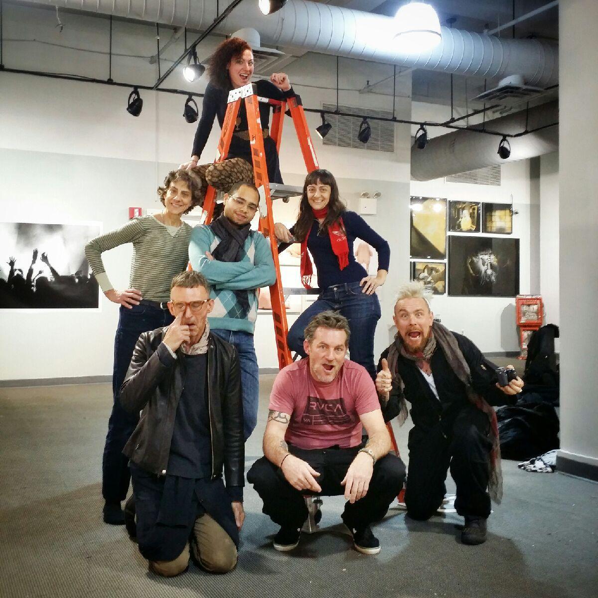 The installation crew, after a hards day work: (bottom L-R) Dragon, Derek Crew, Clay Patrick Mcbride (middle L-R) Katrin Eismann, Randhy Rodriguez, Bina Altera (top) me: Stephanie Rachel Guttenplan
