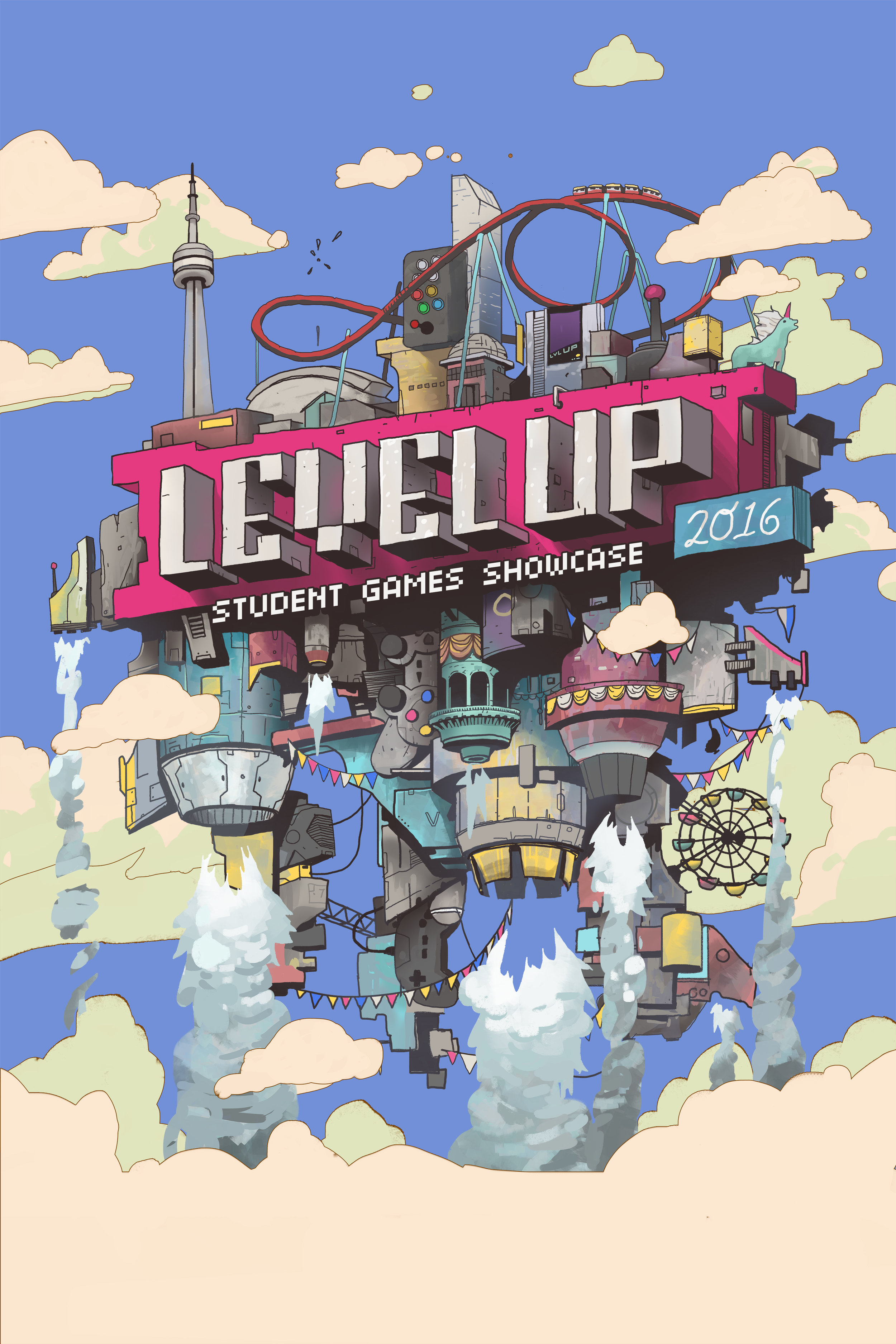 Illustration & Branding for Level Up Student Games Showcase 2016.