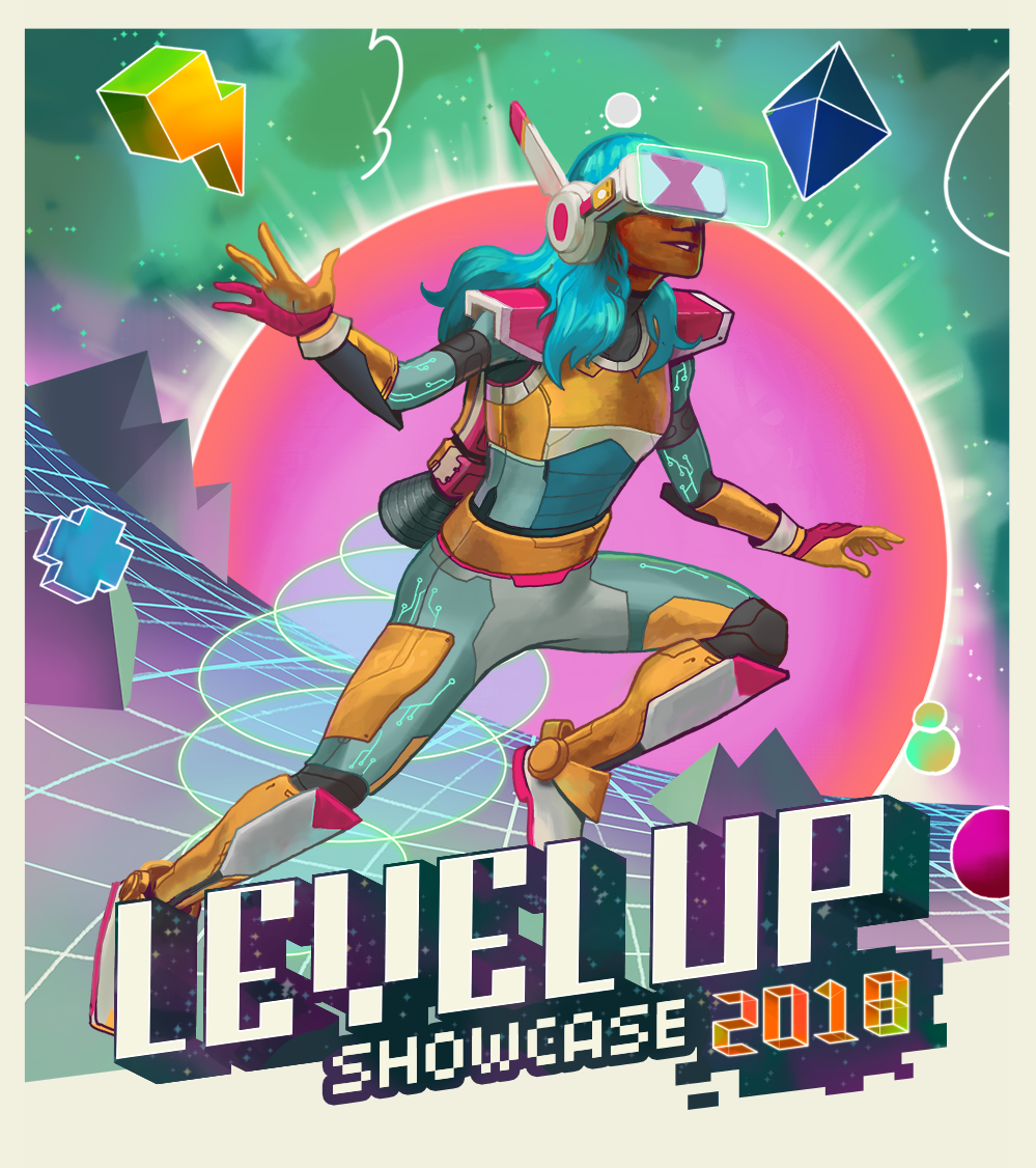 Illustration & Branding for Level Up Student Games Showcase 2018.