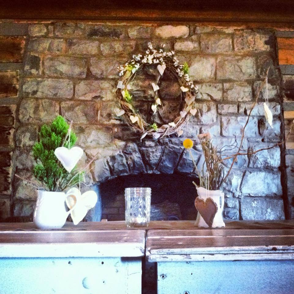 One of the fire places at The Cabin by the Spring.