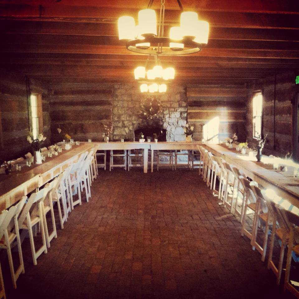 The main dining room inside The Cabin by the Spring.