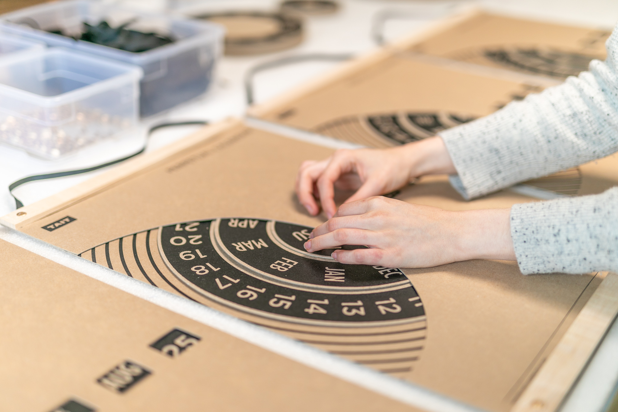 THE ASSEMBLY - –ALL DONE BY HAND–All of the materials from around the US arrive at our studio in Detroit, where they are assembled by hand. Our in-house production team oversees all quality control here as well.