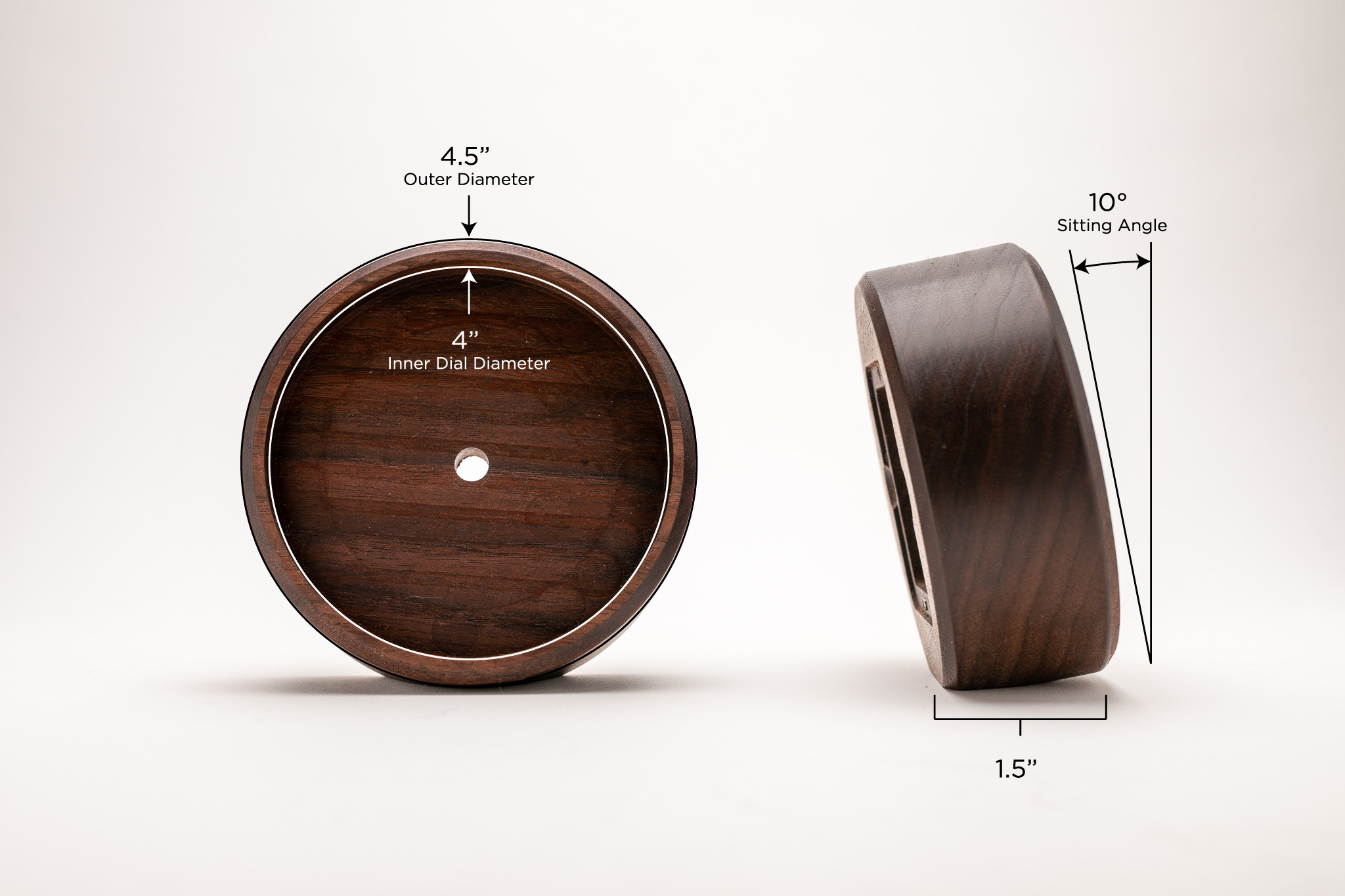 THE ANGLE - –PRECISE 10° ANGLE–Though it's round, our Desk Clock doesn't roll. On the bottom of the walnut body, there's a precise 10 degree angle carved into the wood. The Desk Clock sits perfectly flat and facing up at you every time.
