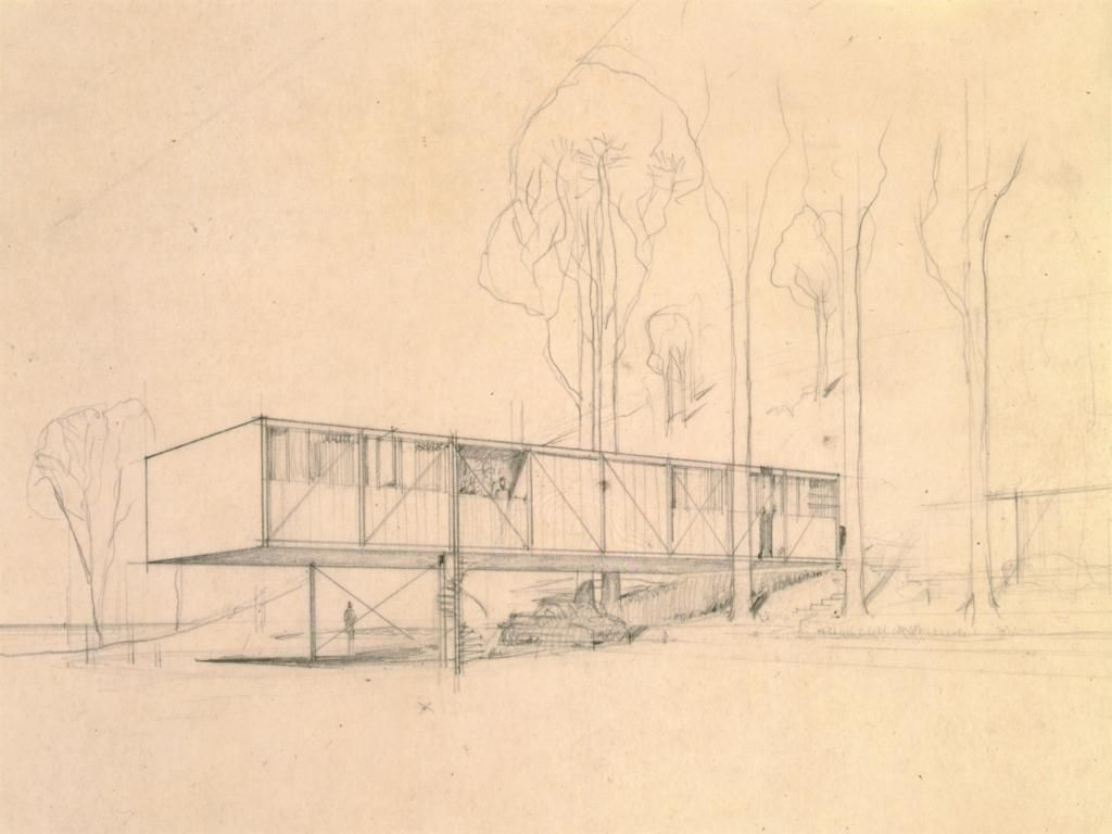 The Bridge House | Sketches by Charles Eames and Eero Saarinen