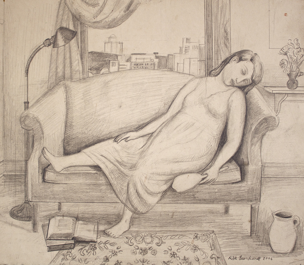 "Girl Sleeping on Couch Holding Mirror Study, 11""x13"" $800 (available) #DF006 contact  Edward Thorp Gallery NYC"