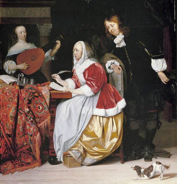 Gabriel Metsu (Dutch Baroque Era Painter, 1629-1667) Young Woman Composing Music