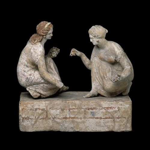 Girls Play Knuckle Bones, Etruscan Sculpture, 30 BC