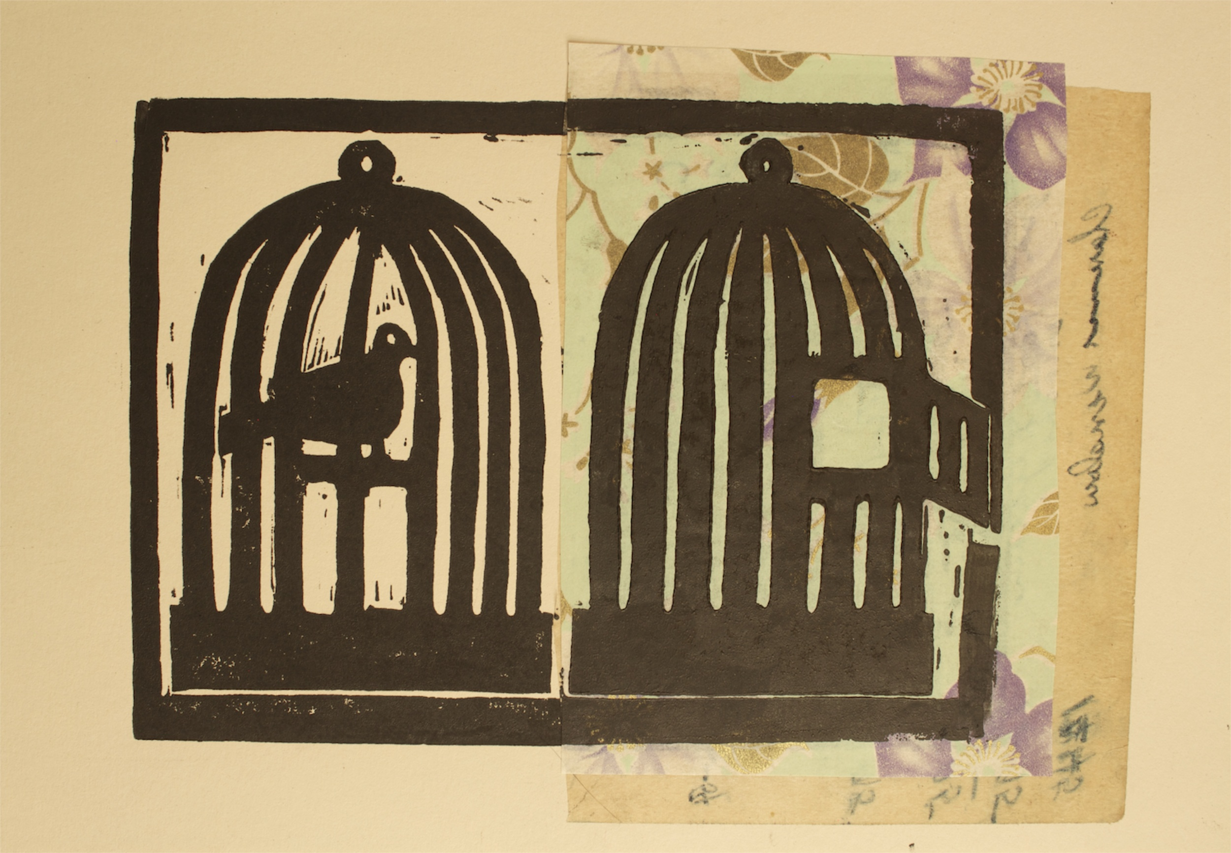 Double Bird Cage, woodblock print, Beerhorst