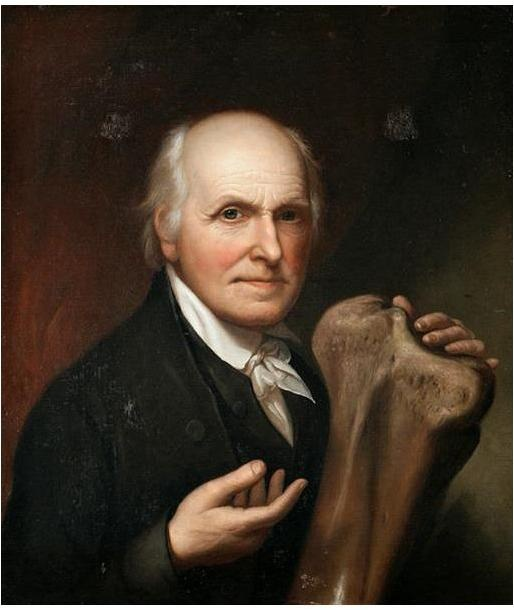 Charles Wilson Peale with a mastodon bone