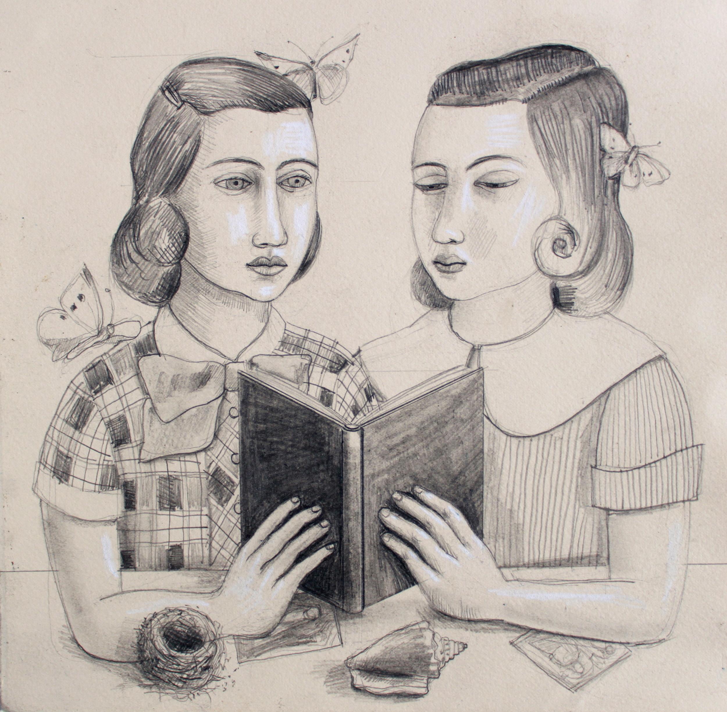 Girls sharing a book drawing, Rick Beerhorst
