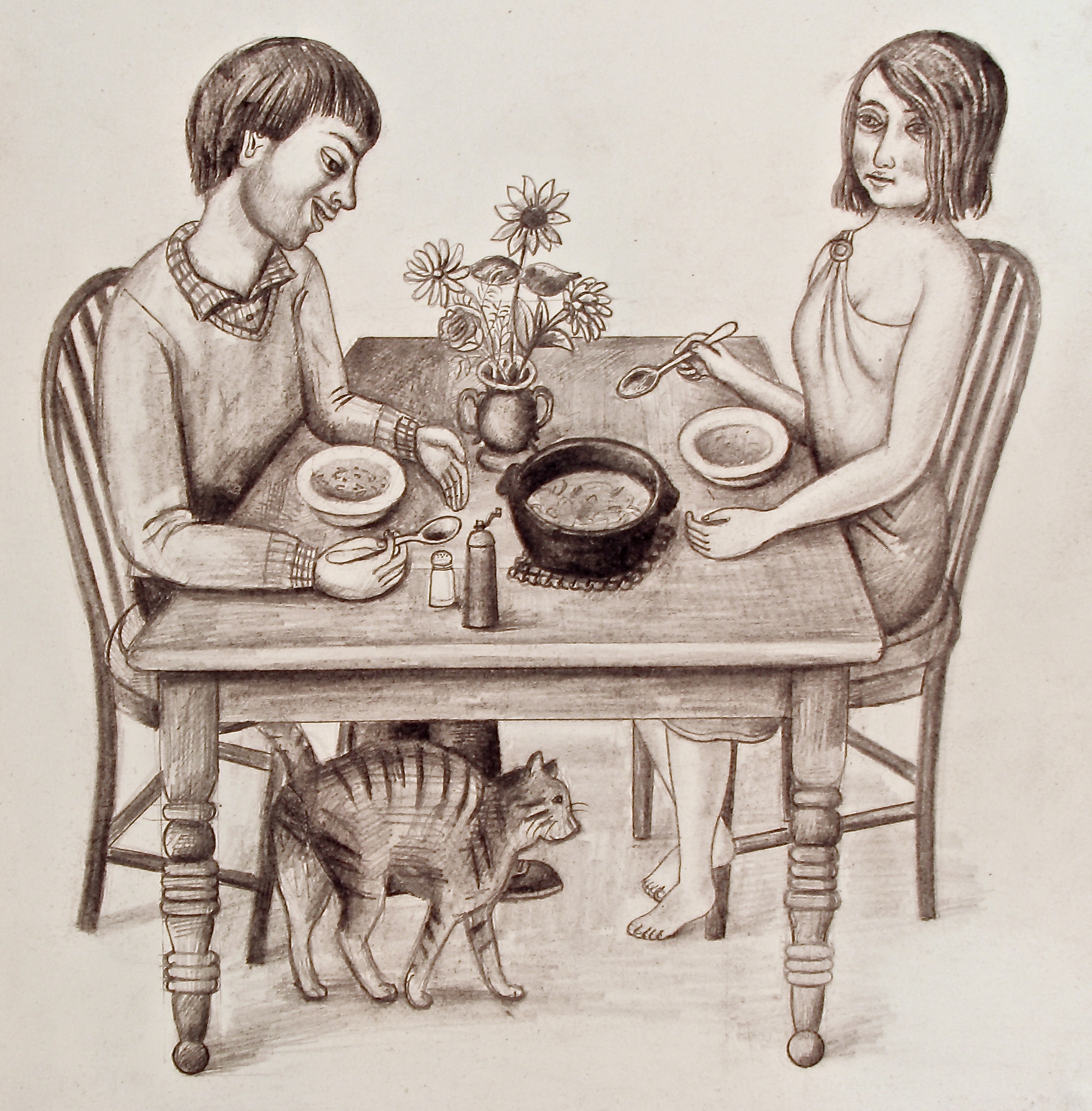 sharing a meal, drawing, graphite, Rick Beerhorst, 2014
