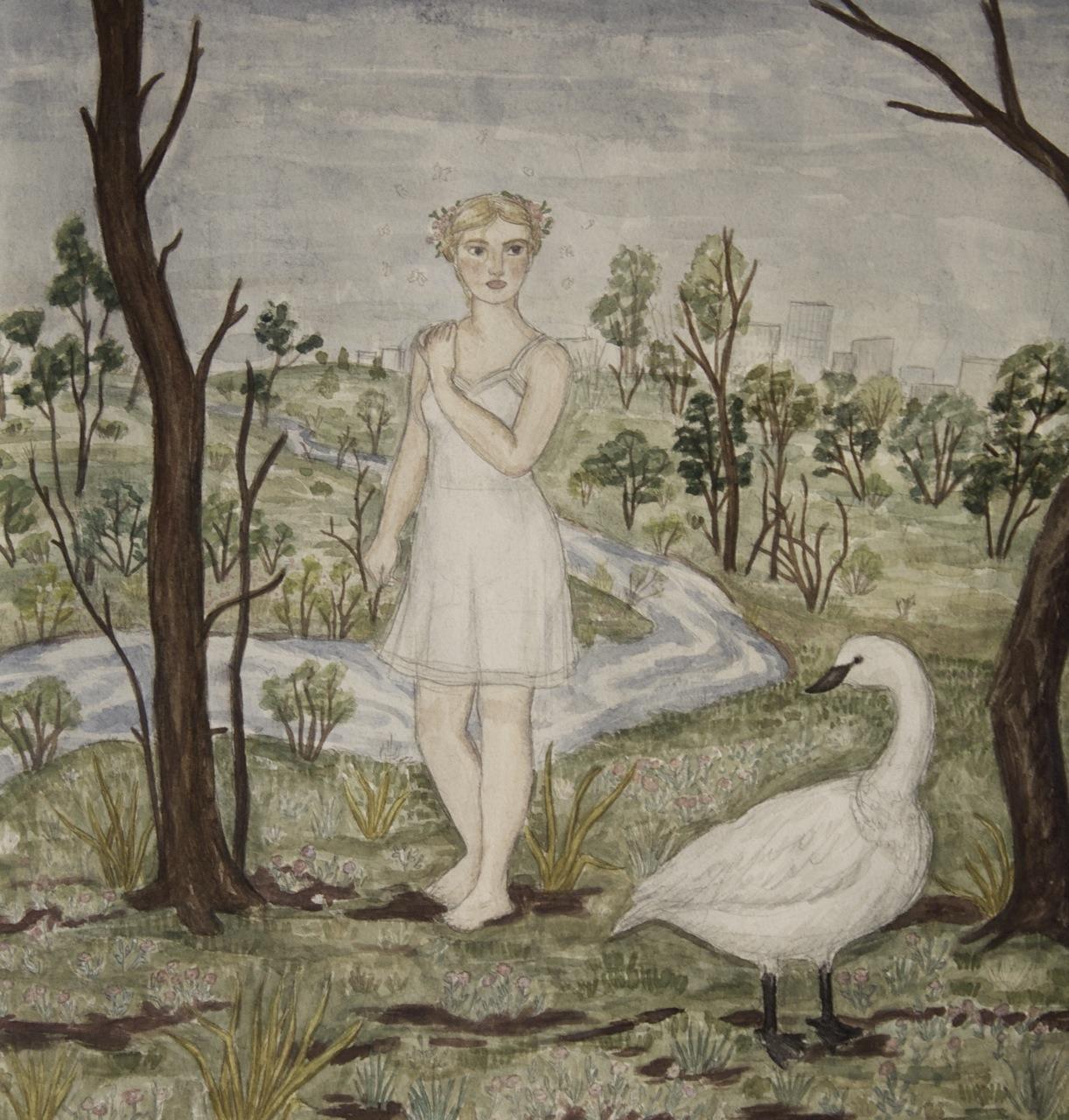 Leda and the swan, Pearl Beerhorst, watercolor, 2014
