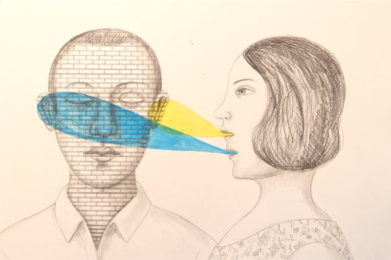 Your not listening, graphite and watercolor drawing, Rick Beerhorst, 2009