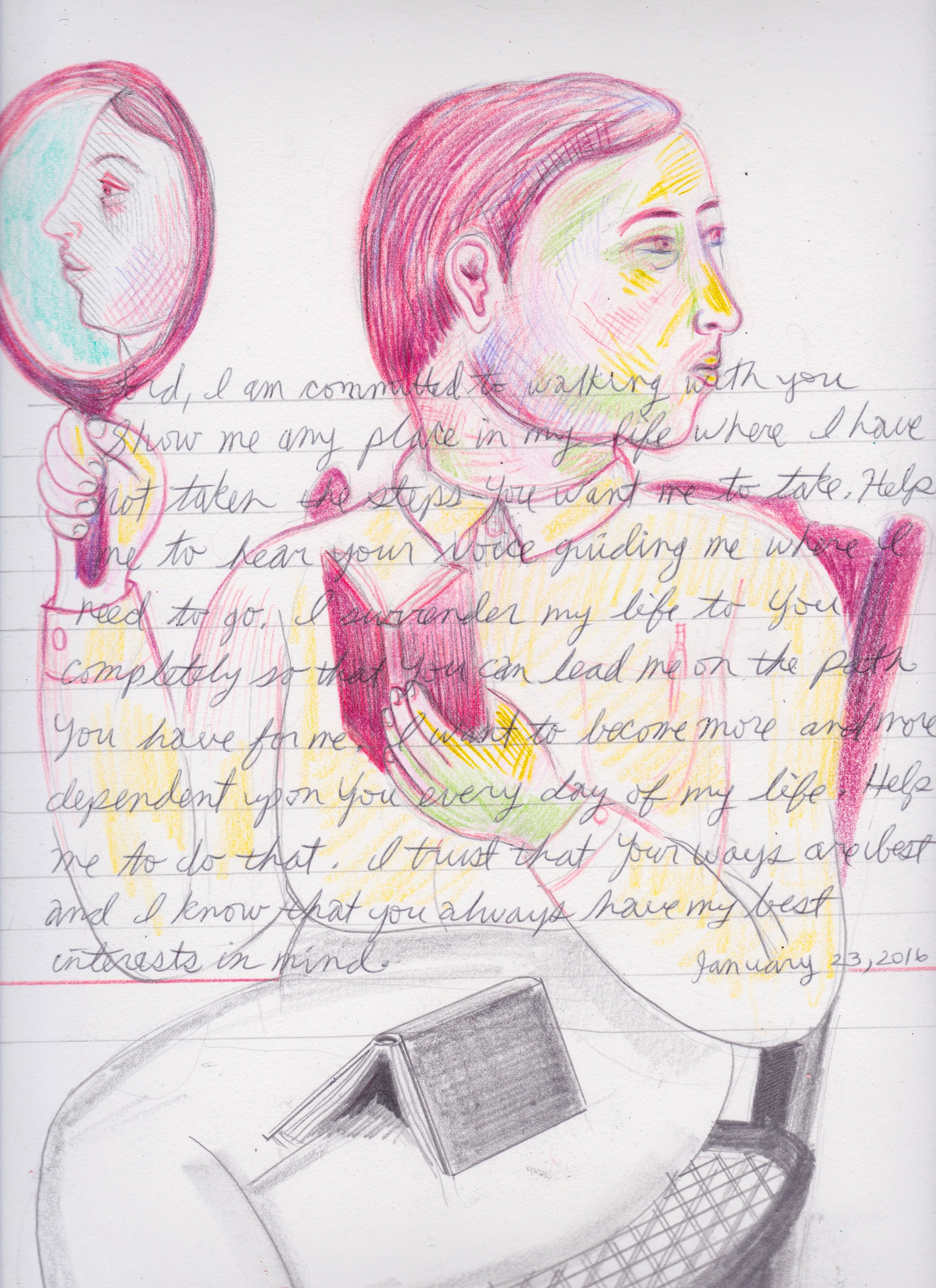 """Guide My Steps, Original Drawing, Colored Pencil and Graphite, 15""""x11"""",  available here"""
