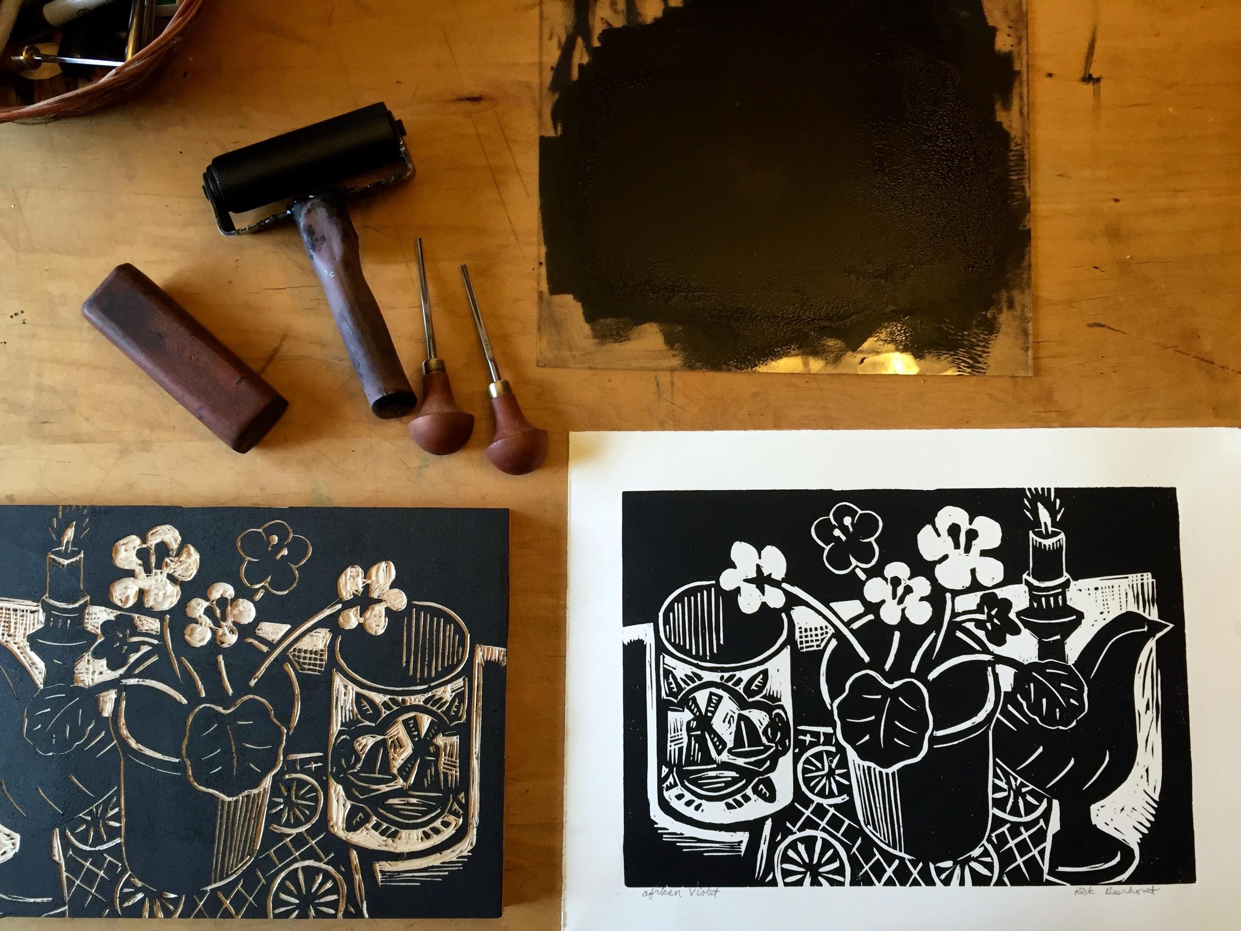 Printing the woodblock print  African Violet