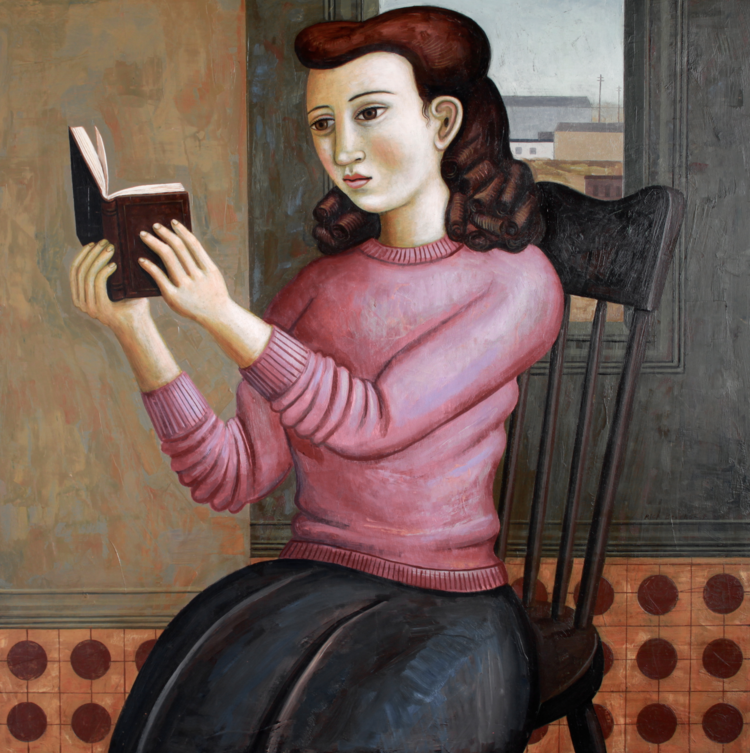 Reader in Purple Sweater