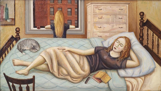 Woman on Bed, Girl at Window