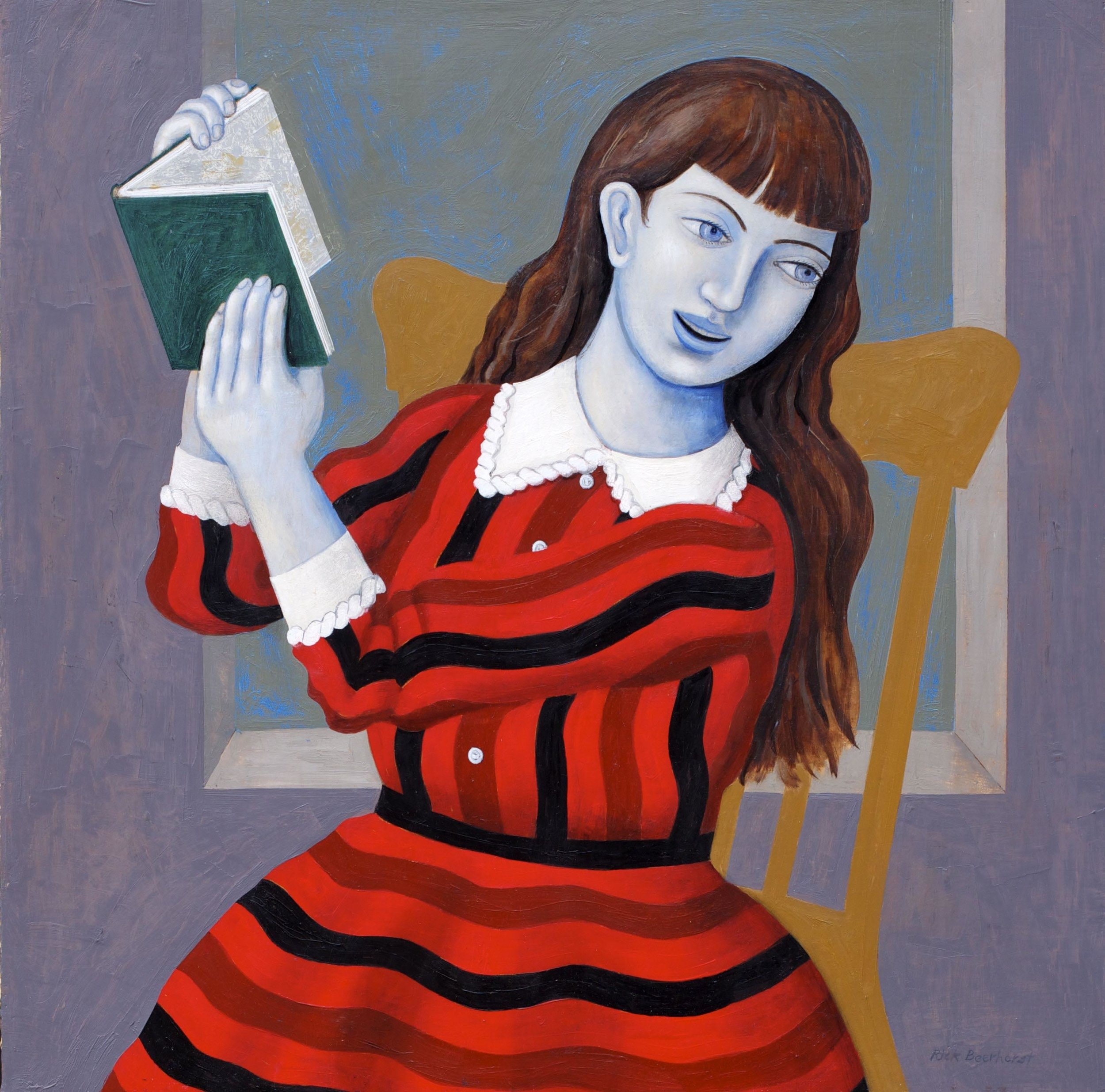 Girl with Green Book and Red Striped Dress