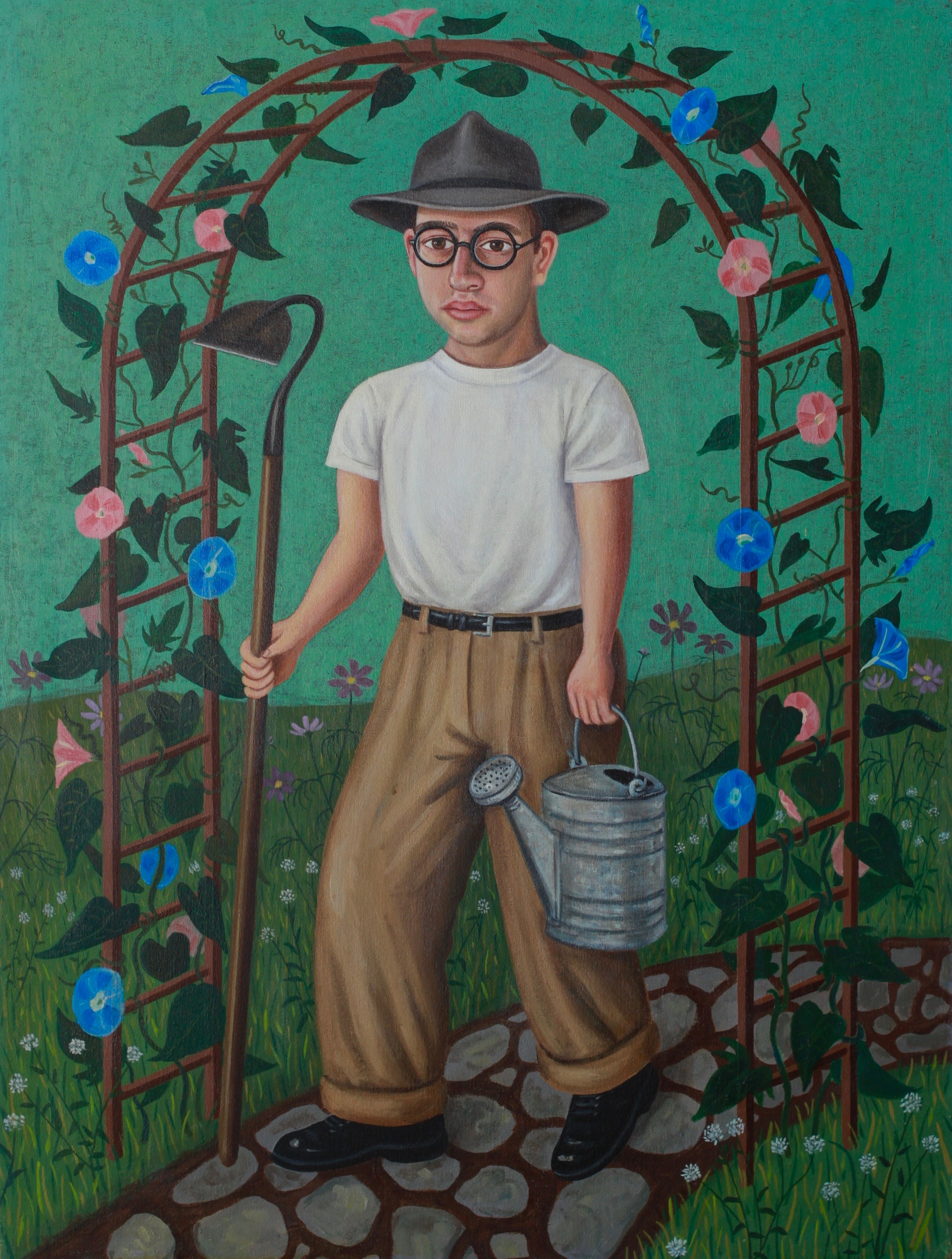 Self-Portrait with Watering Can and Hoe