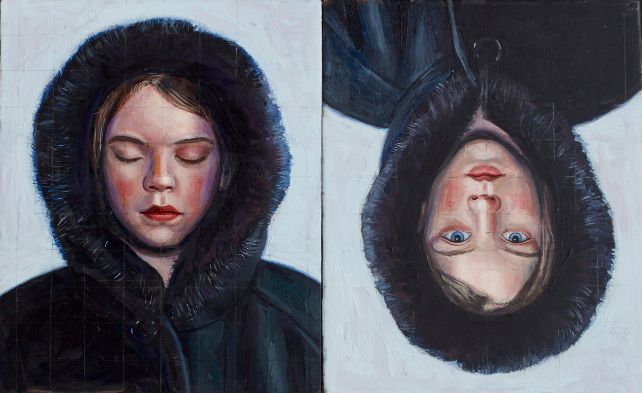 "Rain Eyes Open and Closed Diptych, 16""x10"", oil on panel, SOLD"