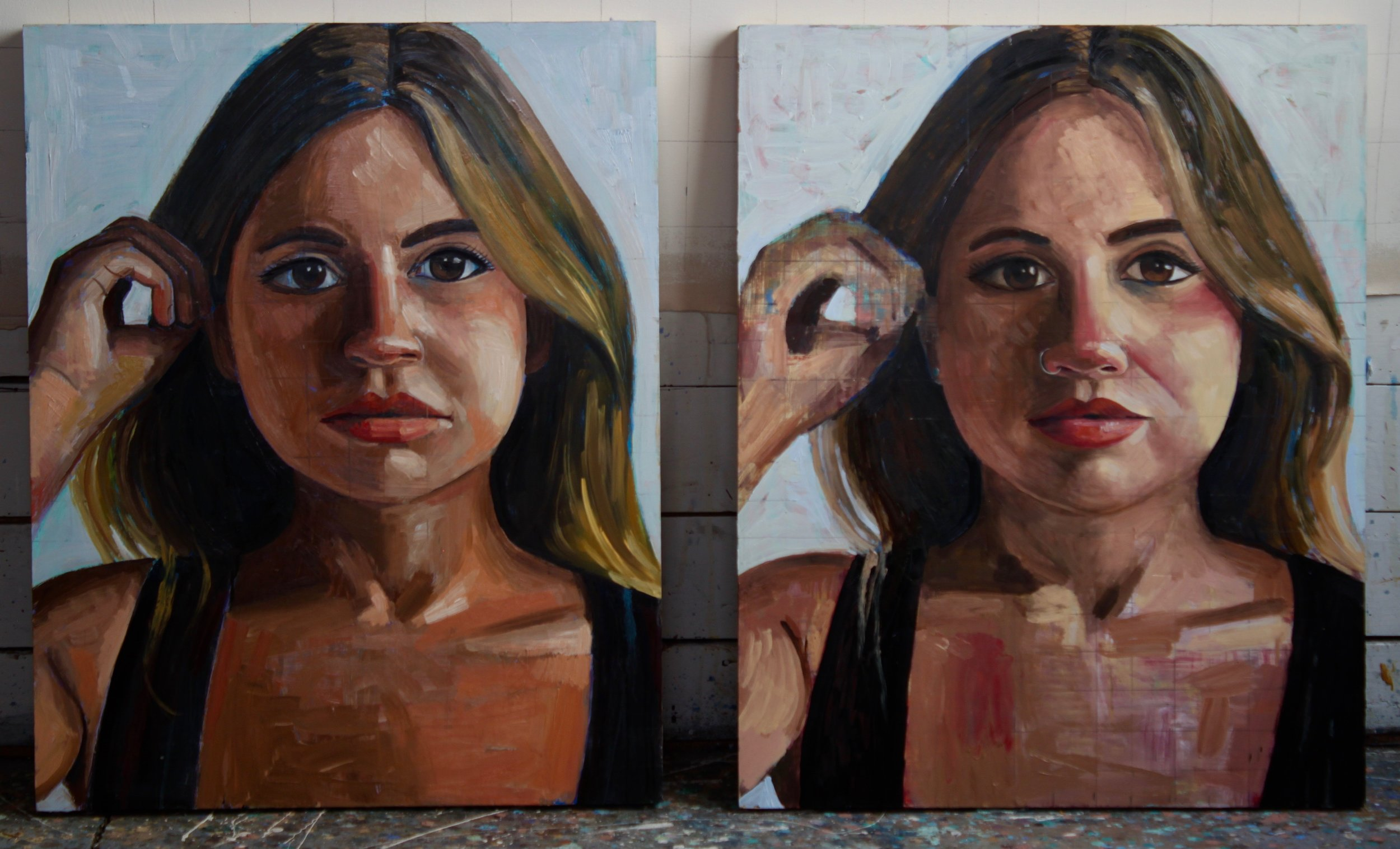 "Stephanie Double Portrait, 48""x30"", oil on panels"