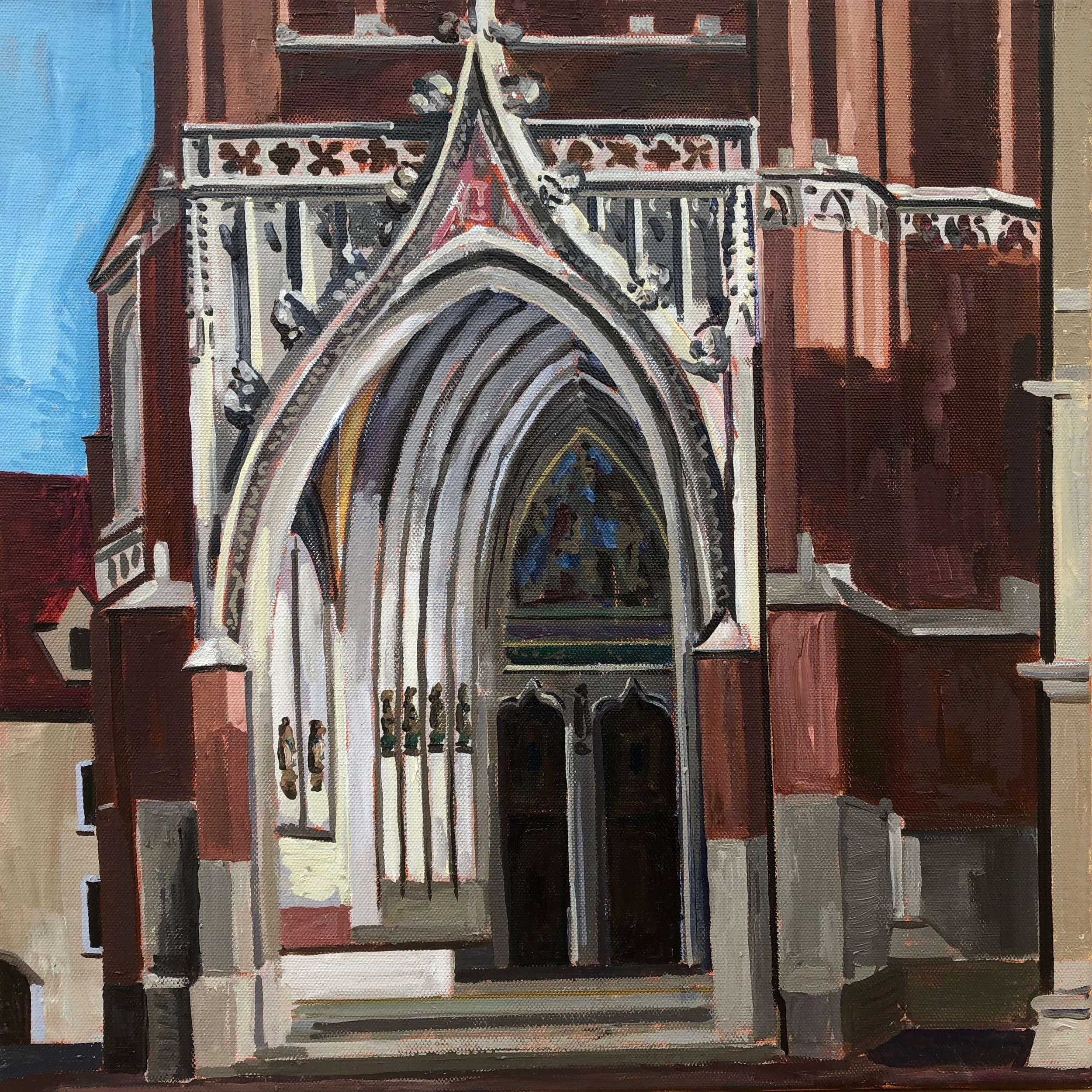 Entrance St Martin's Church #2, 30x30cm, oil on canvas, 2018