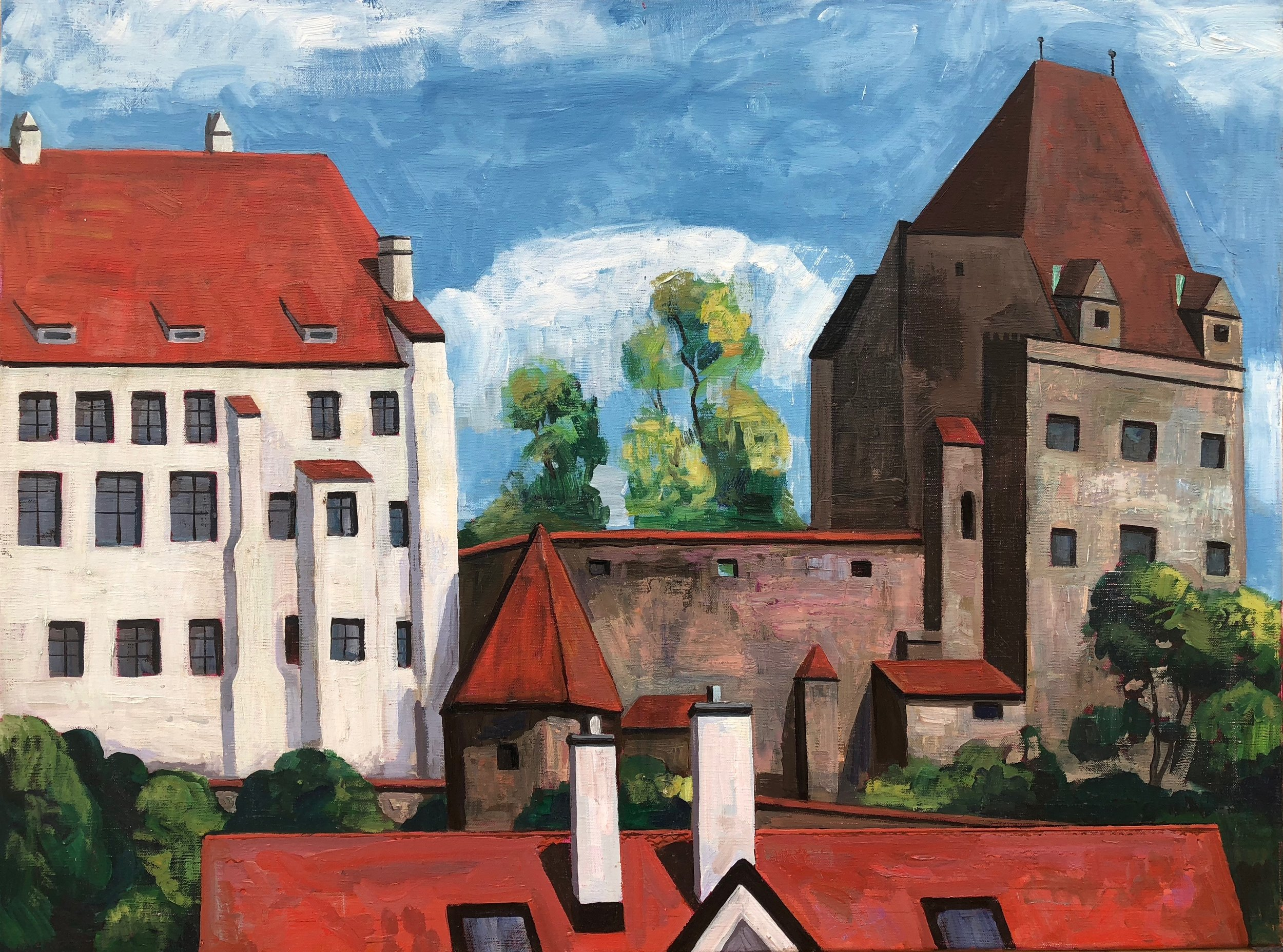 The Castle, Landshut Bavaria, 40x60cm, oil on linen, 2018