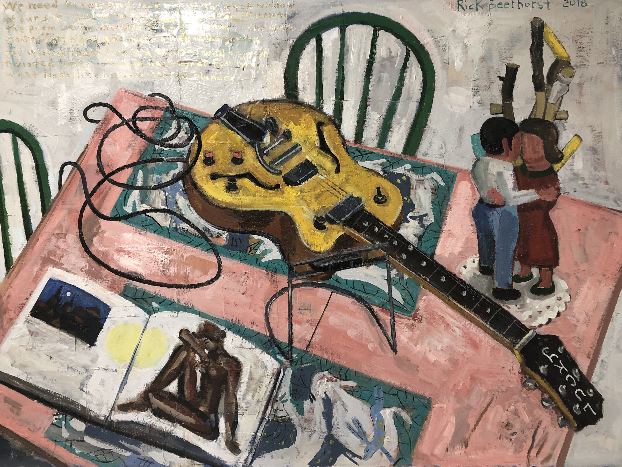 "Still Life with Electric Guitar, Oil on canvas, 30"" x 40"""