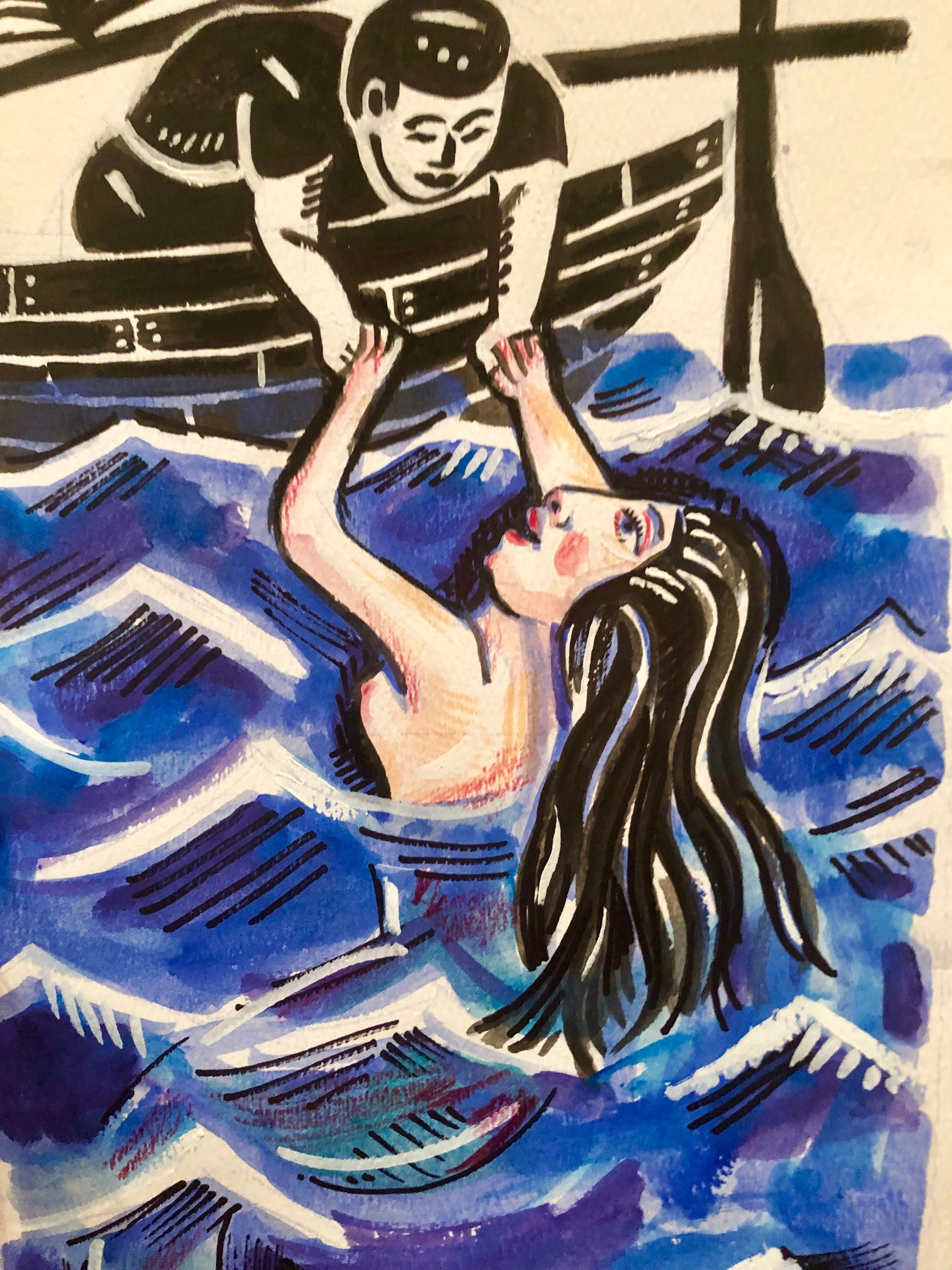 Sailor and the Mermaid, Love will find a way watercolor drawing  BUY NOW!