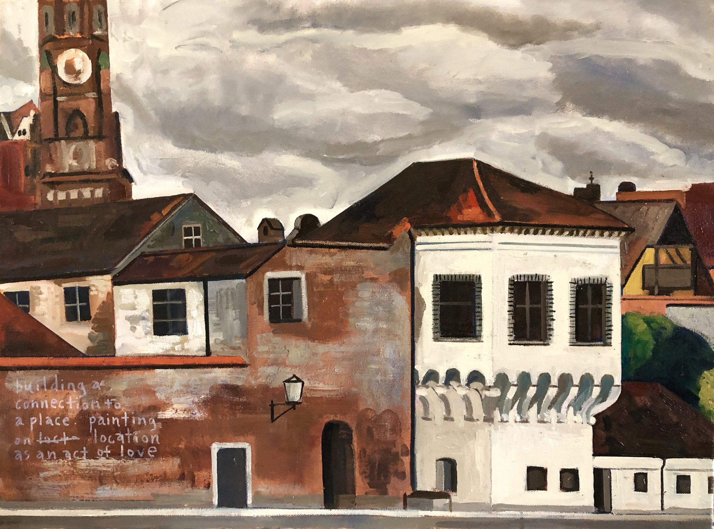 Rick Beerhorst painting Landshut Bavaria along the Isar