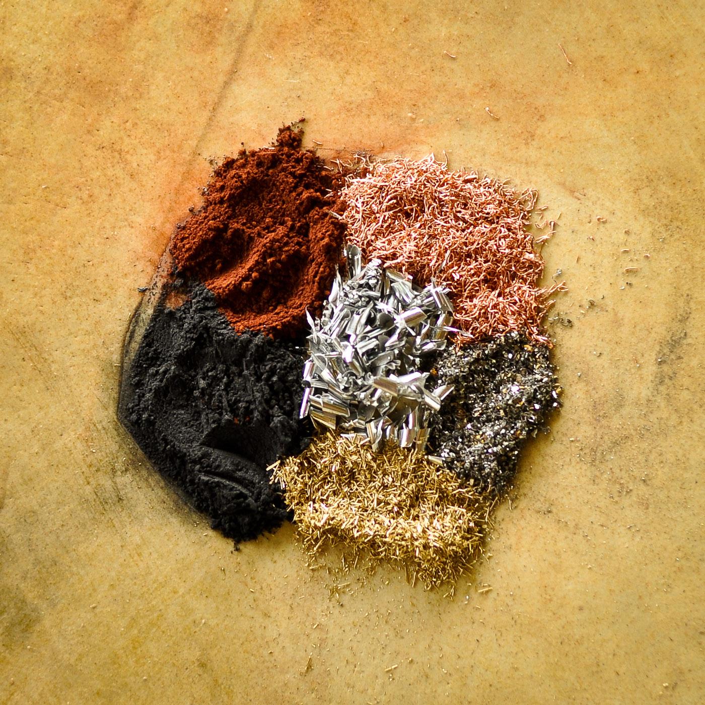 The metals; Aluminum, brass, copper, nano iron & copper oxide