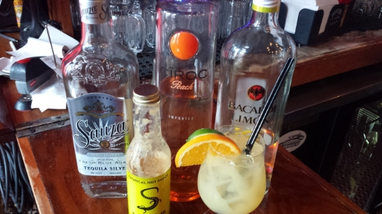 Tammy of  Branded Saloon  created the Tropical Island at the competition. 1 oz Ciroc Peach, 1 oz Bacardi Mango, 1 oz Sauza Silver, sour mix, a splash of OJ and a dash of Salamander Tropical.
