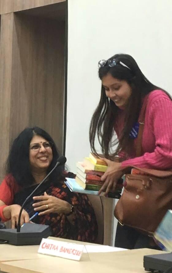 WITH READER SHAMBHAVI SINGH AT LADY SHRI RAM COLLEGE, DELHI