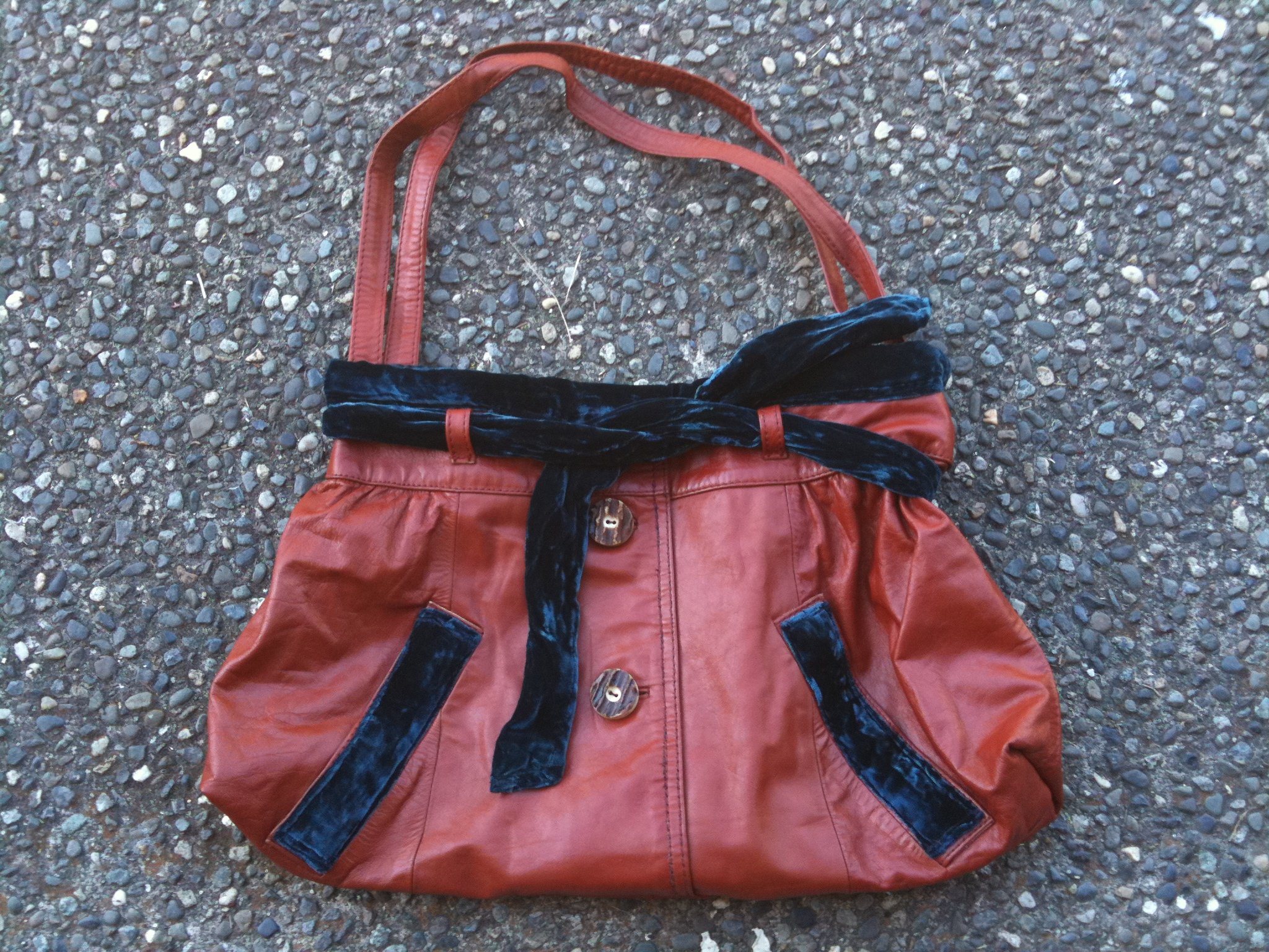 Leather Blue Velvet Bag.JPG