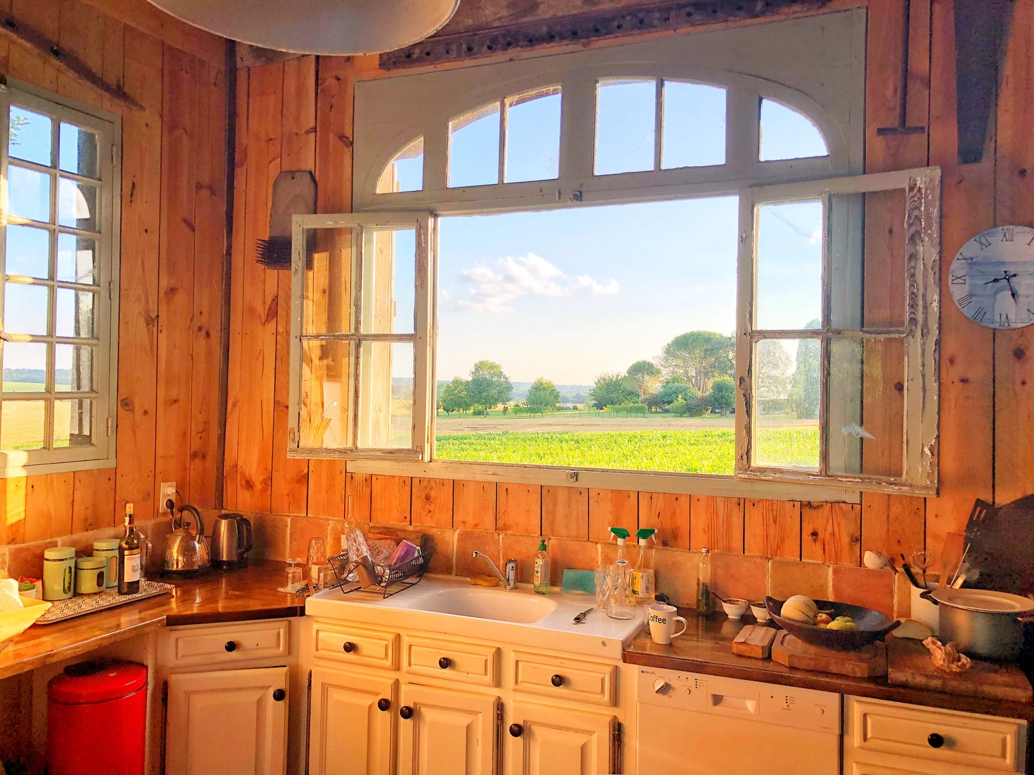 the kitchen view in the shamanic studies barn…