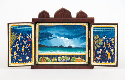 gifts of the storytellers – refuge and prospect  gouache and wax on cedar 13 x 24.5cm
