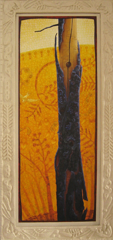 acacia  acrylic and oil on canvas, strawboard, wood, modeling clay 89 x 42.5cm