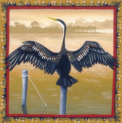 australian darter 'Australian birds' series  13cm x 13cm editions of 80     $60