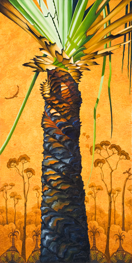 pandanus spirals  oil on canvas 91 x 46cm