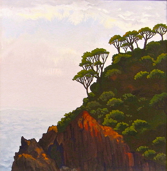 first light, Picnic Point  gouache on paper 12.5 x 12.5cm