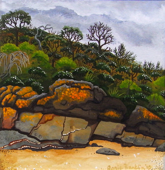 approaching storm, Picnic Point  gouache on paper 12.5 x 12.5cm