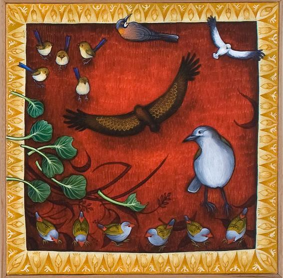 still life series  still life with birds  acrylic and oil on canvas 47 x 47cm