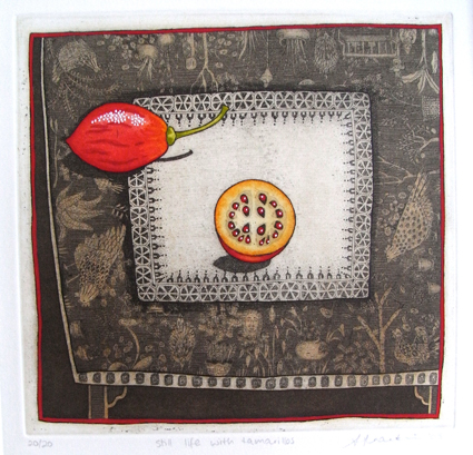 still life with tamarillo  hand coloured etching 19 x 19.5cm