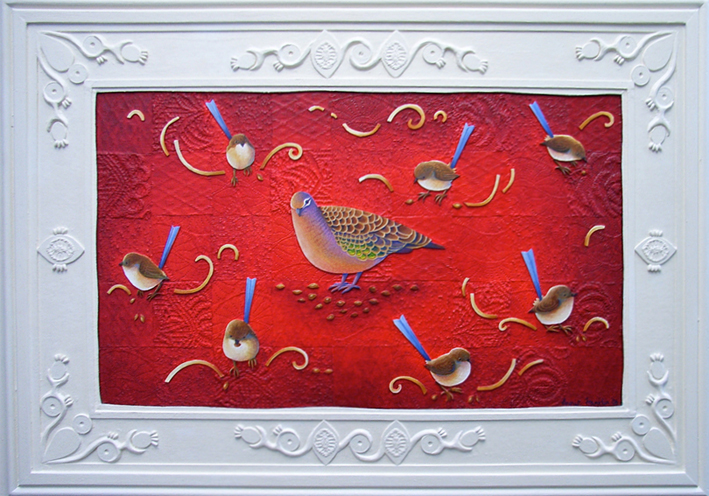 bronzewing and fairy wrens  acrylic and oil on board, fabric and modelling clay 40 x 60cm